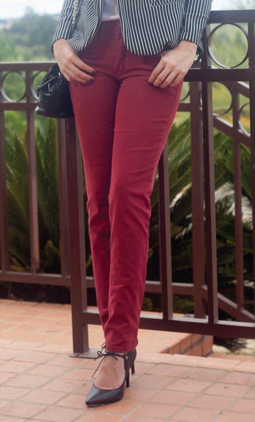 Calça Pau a Pique Jeans Vermelho