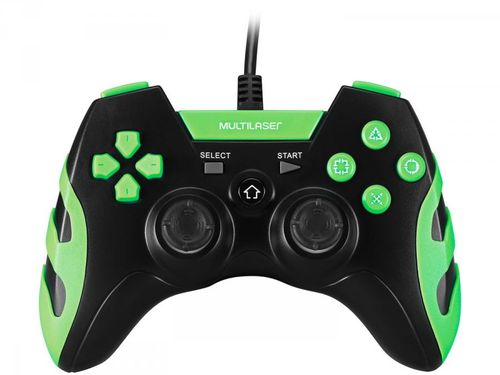 Controle para PC/PS3/PS2 com Fio JS081 - Multilaser Preto e Verde