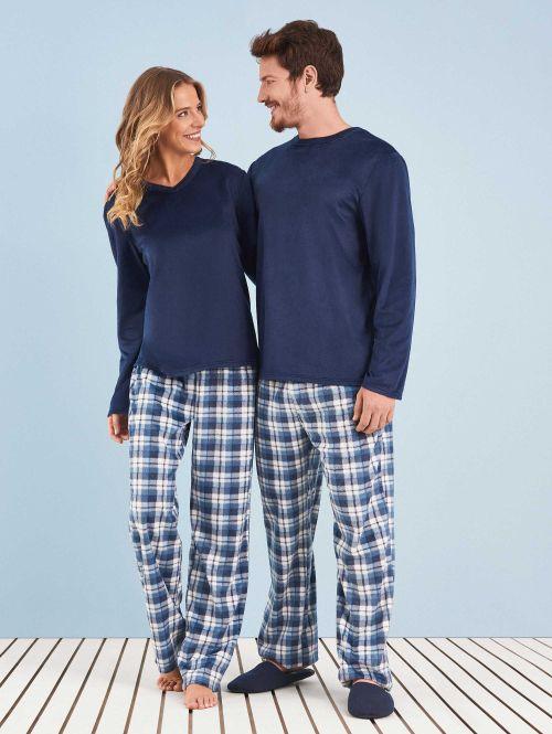 Pijama Longo Manga Longa Soft Feminino Blue Couple