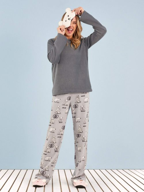 Pijama Manga Longa Soft Urso Frases