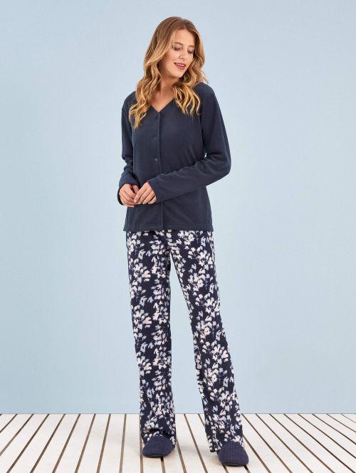 Pijama Manga Longa Soft Aberto Cerejeira
