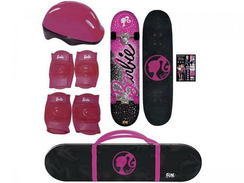 Skate Infantil Barbie 7619-1 com Capacete e - Protetores Fun