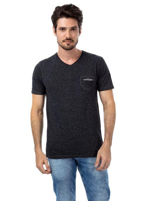 Camiseta Fio Na Gola V Bolso Frontal