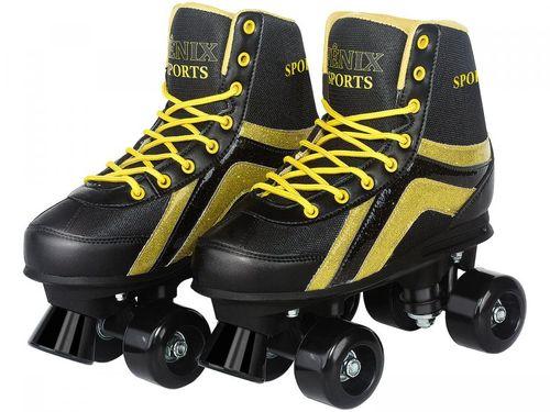 Patins 4 Rodas Infantil Roller Skate Nº 34 ao 35 - Preto Fenix
