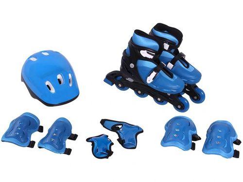 Patins in Line Infantil Radical Tam. M Azul - Bel Fix com Acessórios
