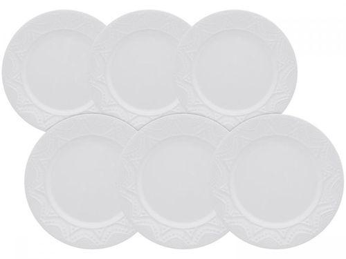 Jogo de Pratos Redondo Cerâmica Branco Raso - Daily Serena White 6 Peças