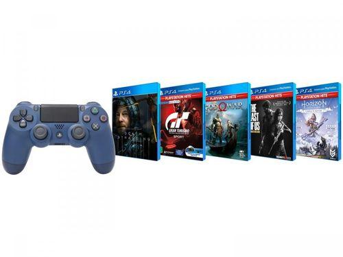 Combo Controle para PS4 sem Fio Dualshock - Midnight Blue com 5 Jogos de PS4