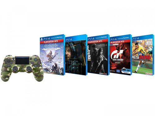 Combo Controle para PS4 sem Fio Dualshock - Verde Camuflado com 5 Jogos para PS4