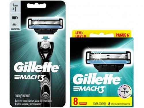 Kit com Aparelho de Barbear Gillette Mach3 - com Carga de 8 Unidades