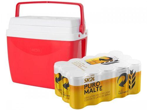 Caixa Térmica Mor 26L com Alça Regulável - Vermelha + Cerveja Skol 269ml 15 Unidades
