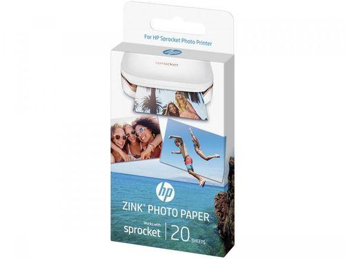 Papel Fotográfico 5x7,6cm HP Zink - Autocolante Para Sprocket 100 Colorido 20 Folhas