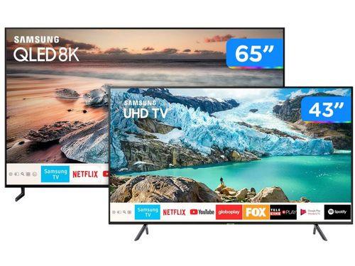"""Smart TV 8K QLED 65"""" Samsung QN65Q900RB HDR 3000 - 4 HDMI 3 USB + Smart TV 4K LED 43"""" UN43RU7100"""