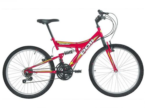 Bicicleta Aro 24 Mountain Bike Polimet Kanguru - Full Suspension Freio V-Brake 18 Marchas