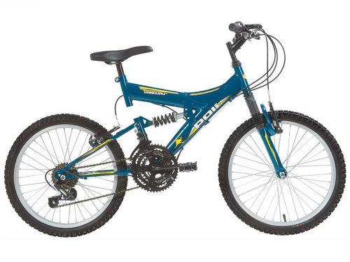 Bicicleta Aro 20 Mountain Bike Polimet Kanguru - Full Suspension Freio V-Brake 18 Marchas