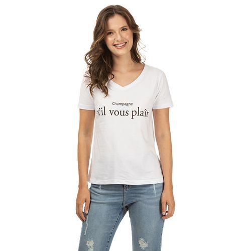 Camiseta TNG Decot V Champagne Feminino