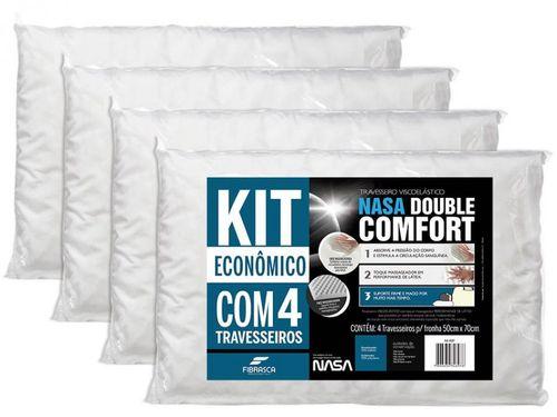 Kit Travesseiro Nasa de Cabeça - Viscoelástico Double Comfort 4 Peças