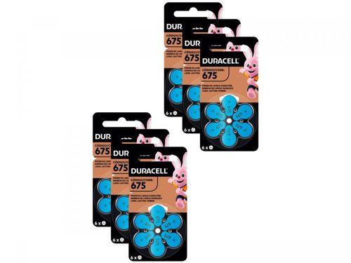 Pilha Auditiva 675 Duracell - 6 Pacotes com 6 Unidades Cada