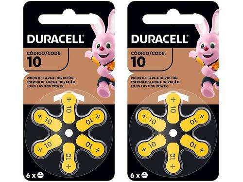 Pilha Auditiva 10 Duracell - 2 Pacotes com 6 Unidades Cada