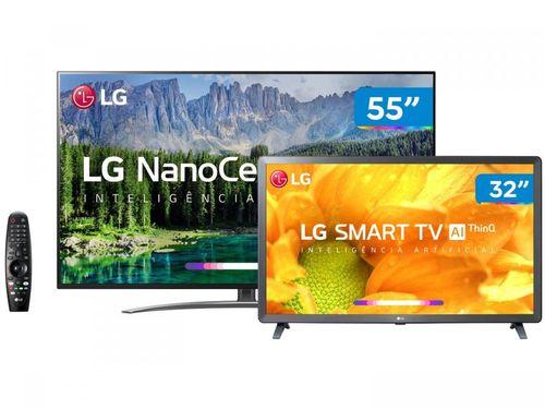 "Smart TV 4K NanoCell 55"" + Smart TV HD LED 32"" LG - Inteligência Artificial Controle Smart Magic"