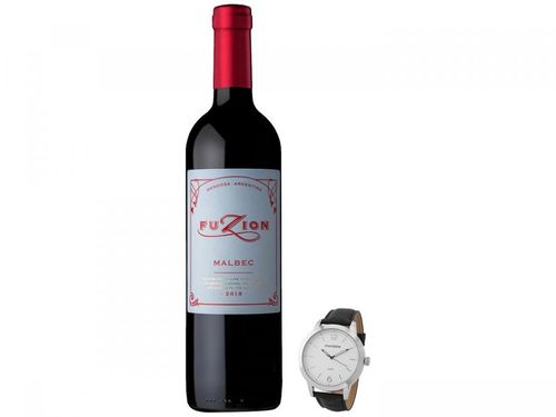 Relógio Masculino Mondaine Analógico + Vinho Tinto - Seco Zuccardi Fuzion Malbec 750ml