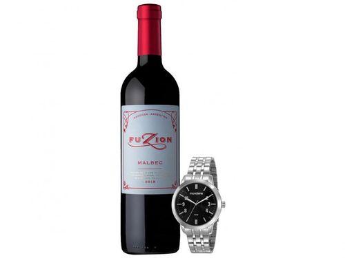 Relógio Masculino Mondaine Analógico Prata + Vinho - Tinto Seco Zuccardi Fuzion Malbec