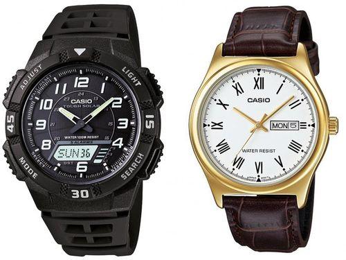 Relógio Masculino Casio Anadigi Esportivo - AQ-S800W-1BVDF Preto + Relógio Masculino Marrom