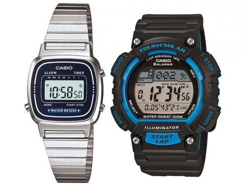 Relógio Masculino Casio Digital STL-S100H-2AVDF - Preto + Relógio Feminino LA670WA-2DF Prata