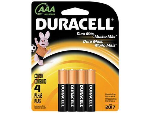 Pilhas Alcalina AAA 1200mnAh 4 Unidades - Duracell