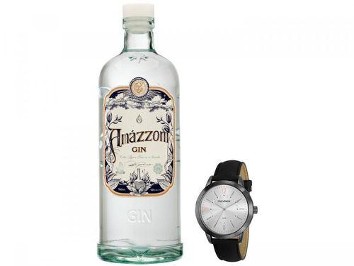 Relógio Masculino Mondaine Analógico 53809GPMGPH6 - Preto + Gin Amázzoni Tradicional 750ml