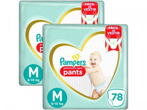 Kit 2 Unid. Fralda Pampers Premium Care Pants - Calça Tam. M 6 a 10kg 78 Unidades Cada