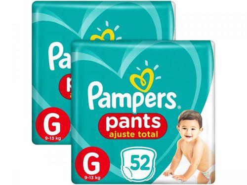 Kit 2 Unid. Fralda Pampers Ajuste Total Pants - Calça Tam. G 9 a 13kg 52 Unidades Cada