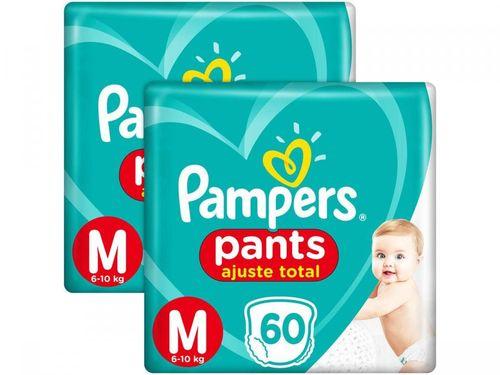 Kit 2 Unid. Fralda Pampers Ajuste Total Pants - Calça Tam. M 6 a 10kg 60 Unidades Cada