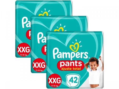 Kit 3 Unid. Fralda Pampers Ajuste Total Pants - Calça Tam. XXG 11 a 15kg 42 Unidades Cada