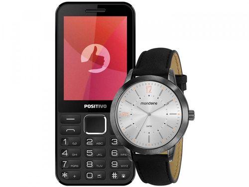 Celular Positivo P28B Dual Chip Rádio FM Bluetooth - MP3 Player Desbl.+ Relógio Masculino Mondaine