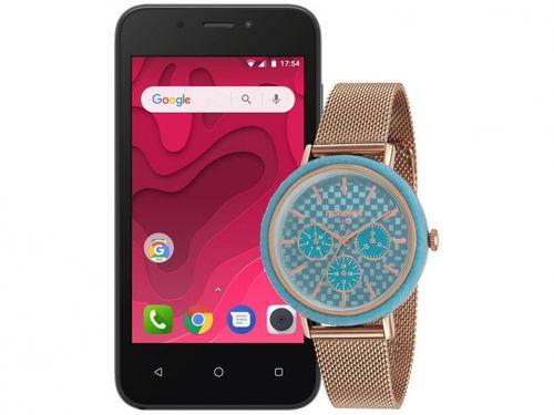 "Smartphone Positivo Twist Mini S431 8GB Grafite - 3G 512MB Tela 4"" + Relógio Feminino Mondaine"