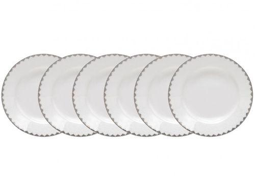 Jogo de Pratos Redondo Porcelana Branco Fundo - de Sopa Wolff Minsk 6 Peças