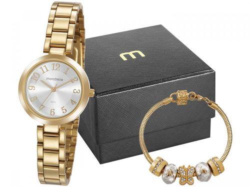 Relógio Feminino Mondaine Analógico - 32115LPMVDE1K Dourado com Acessório