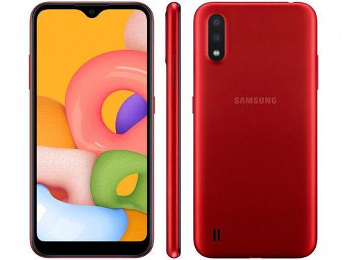 Smartphone Samsung Galaxy A01 32GB Vermelho 4GB - Octa-Core 2GB RAM Tela 5,7