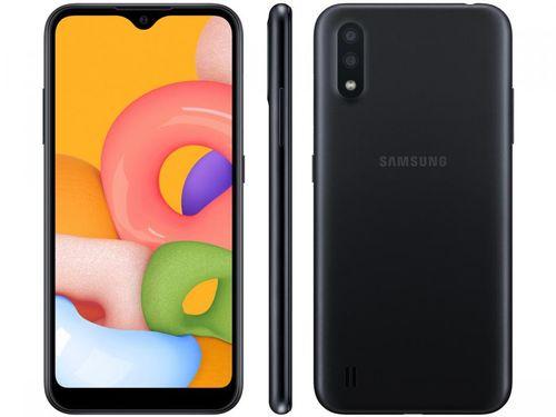 Smartphone Samsung Galaxy A01 32GB Preto 4GB - Octa-Core 2GB RAM Tela 5,7