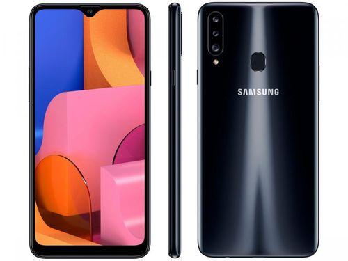 "Smartphone Samsung Galaxy A20s 32GB Preto 4G - Octa-Core 3GB RAM 6,5"" Câm. Tripla + Selfie 8MP"