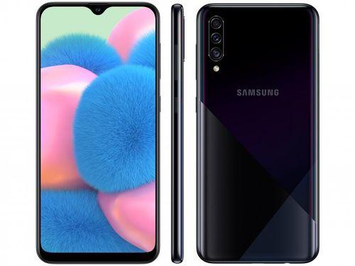 "Smartphone Samsung Galaxy A30s 64GB Preto 4G - Octa-Core 4GB RAM 6,4"" Câm. Tripla + Selfie 16MP"