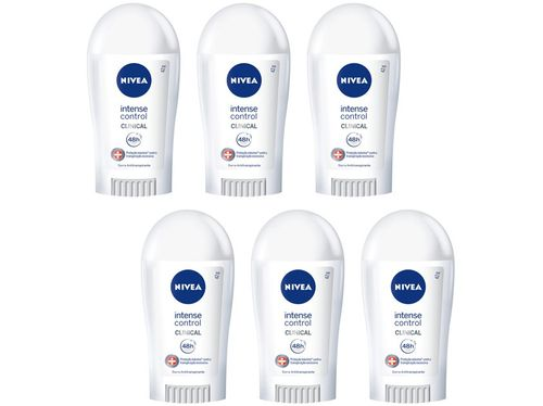 Kit Desodorante Nivea Clinical Intense Control - Barra Antitranspirante Feminino 42g 6 Unidades