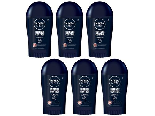 Kit Desodorante Nivea Clinical Intense Control - Barra Antitranspirante Masculino 42g 6 Unidades