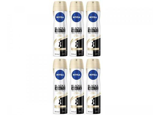 Kit Desodorante Nivea Invisible Black e White - Toque de Seda Aerossol Feminino 150ml 6 Unidades