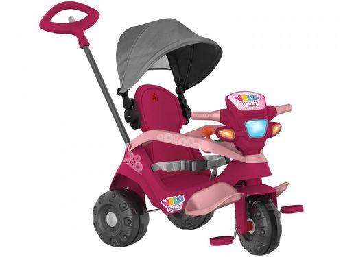 Triciclo Infantil Velobaby 339 com Empurrador e - Capota Bandeirante