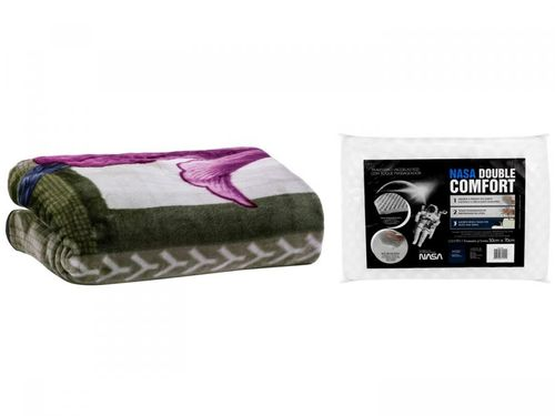 Cobertor Casal Dyuri Oregon Verde + Travesseiro - Nasa Fibrasca Viscoelástico NASA Double Comfort