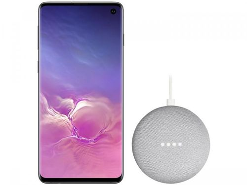 "Smartphone Samsung Galaxy S10 128GB Preto 4G - 8GB RAM Tela 6,1"" + Google Nest Mini Cinza"