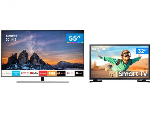 "Combo Smart TVs Samsung 4K QLED 55"" QN55Q80RAG - Wi-Fi Bluetooth HDR 4 HDMI + Smart TV LED 32"""