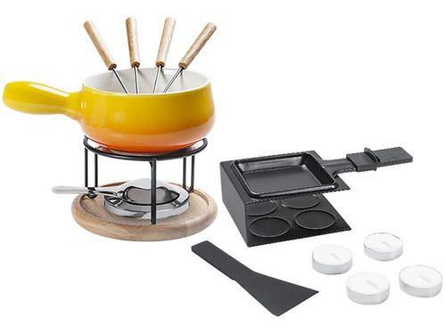 Conjunto Raclette e Aparelho de Fondue Cerâmica - Brinox Amarelo 1256/109 16 Peças