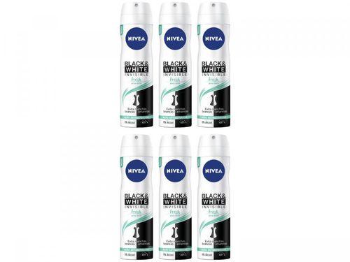 Kit Desodorante Nivea Invisible Black e White - Aerossol Antitranspirante Fem 150ml 6 Unidades